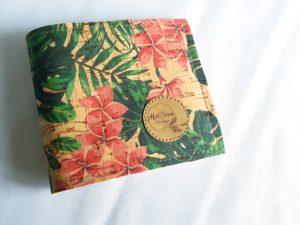 Porte feuille liège fleurs tropicales