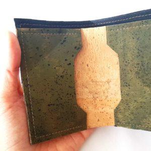 Porte carte en liège naturel et vert